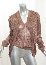 CHRISTIAN DIOR Womens Brown Leopard Print Cardigan Sweater+Top Twinset 40/8 M