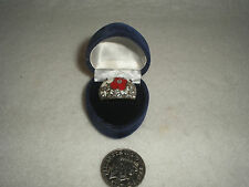 COSTUME JEWELLERY COLLECTABLE RING ENAMEL FLOWERS DIAMONTI SILVER METAL BOXED