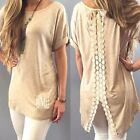 New Fashion Women Vest Short Sleeve Blouse Bowknot Tops Lace Tee Shirt T-Shirt