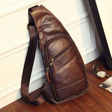 Mens Genuine Leather Sling Chest Bag Travel Hiking Messenger Shoulder Pack Pouch