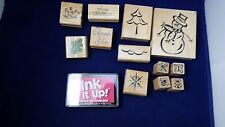Vintage Rubber Stamps Lot Of 13 Card Making Supplies Crafts Scrapbooking Ink