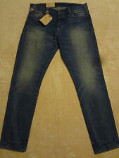 "RALPH LAUREN Denim Tapered Slim Blue Jeans Mens 36"" x 34"" Orig. $125+ Distressed"