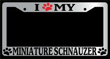 Chrome License Plate Frame I Heart My Minature Schnauzer (Paw) Auto Accessory