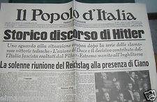 IL POPOLO D'ITALIA 29 LUGLIO 1940 STORICO DISCORSO DI HITLER - FAC SIMILE