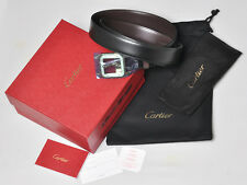 NEW Santos de Cartier Mans Golden Buckle Belt L5000420 Leather Black/Brown Rev.