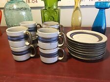 Tea Coffee Service For 8 Otagiri Horizon Blue Brown Stripes Stoneware 16 Total!