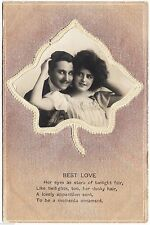 BEST LOVE Eyes As Stars Of Twilight Fair - E A Schwerdtfeger 1911 used postcard