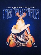 Vintage Thank God I'm Country Cowboy Rebel Southern Music Soft T Shirt S