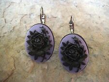 ROSE CAMEO LEVER BACK FRENCH EARRINGS!! WONDERFUL QUALITY!!!! CHRISTMAS