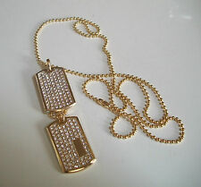 Iced Beauty 18K Gold Plated Double Dogtag CZ micropave w/ 27″ Ball chain