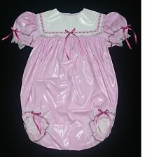 ADULT SISSY BABY GIRL ONESIE BABY PINK PVC ROMPER NIGHT SLEEPER M