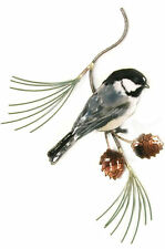 Chickadee on Pine Metal Bird Wall Art Sculpture by Bovano of Cheshire #W4128
