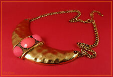 BTIME GOLD AZTEC / INCA ETHNIC BIB STATEMENT NECKLACE WITH CORAL PINK CABOCHONS.