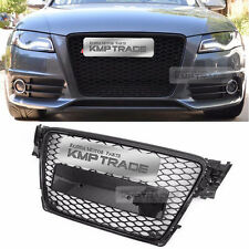 RS4 Style Black Frame Grille Mesh Ring Chrome Emblem for AUDI 2009-2012 A4 / B8