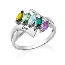 Birthstone Ring for Mom, 18K Gold Plated Personalized 5 Stone Ring