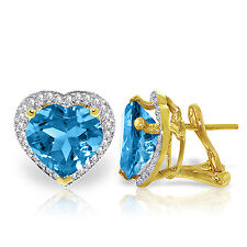 12.88 tcw 14K Solid Gold Authentic Natural Blue Topaz Gemstone  Diamond Earrings