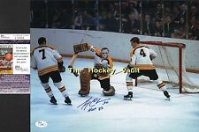 #4 Bobby ORR DEFENDS Gerry CHEEVERS Boston BRUINS Custom SIGNED 11X14 JSA COA !!