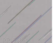 Gray Grey Candy Cane StripeTurquoise Whispy Violet Vtg Double Roll Wallpaper