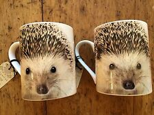 SET OF 2 HEDGEHOG BOTANICAL LIVING FINE CHINA MUG WOODLAND ANIMALS BNWT