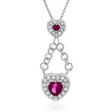 """1.75 Carat Created Ruby Heart Necklace in Sterling Silver - 18"""""""