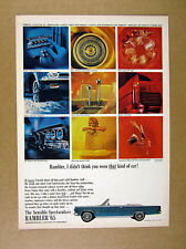 1965 Rambler Ambassador 990 Convertible blue car photo vintage print Ad