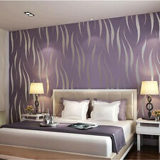 10M 57SF Decorative Home Bedroom Luxury 3D Wave Flocking Wallpaper Roll Purple