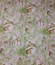 "P KAUFMANN CAPE TOWN HIBISCUS Pink Monkey Giraffe Multiuse FABRIC BY YARD 54""W"