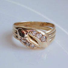 Antique Edwardian 18ct Gold Diamond (0.40cts) Snake Serpent Ring c1910; Size 'S'