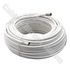 100FT WHITE Coax Coaxial HD Satellite Dish Cable TV Antenna Wire Cord F Male