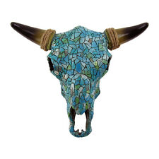 Southwestern Turquoise Mosaic Steer/Bull/Cow Skull&Horns Head Western Wall Decor