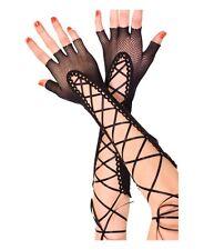 Sexy Guanti donna net a rete con intreccio in raso nero guanti sexy shop