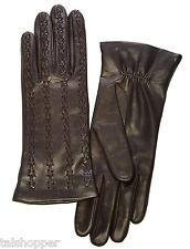 NWT Portolano TEAK Butter Soft Luxurious X-Stitch Leather Gloves 6.5 Retail $129