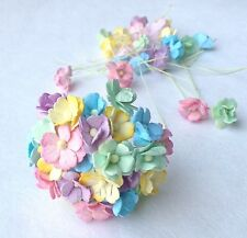 100 Assorted Pastel, Soft Colors Mulberry Paper Flowers Scrapbook, Wedding