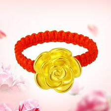 New Pure 24k Yellow Gold Ring Woman's Pretty Rose Flower Knitted Ring 0.81-0.9g