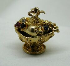 Fantastic Large Heavy 9ct Gold Gem Set Bowl Of Fruit Charm