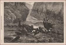 CANADIAN LUMBERING, Canada, Lumber, Logging by Andrews, antique engraving 1863