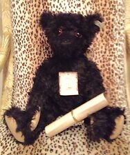 STEIFF BRITISH COLLECTOR'S 1912 TEDDY BEAR REPLICA BLACK MOHAIR MINT - LE
