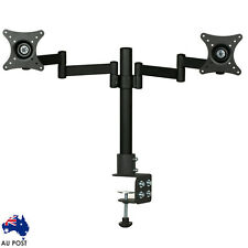Dual LED monitor stand 2 arm holds two LCD screen TV desk mount bracket holder