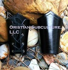 Short Black Leather Bracers Arm Armor SCA LARP cosplay renaissance armour cuffs