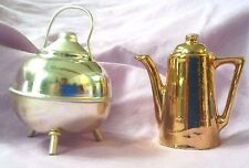 MINIATURE DOLLHOUSE KETTLES or DOLL KETTLES ~ GOLD COFFEE POT ~ SILVER KETTLE