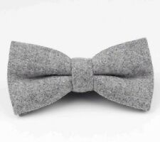 New Vintage Tweed Wool Grey Pre-tied bow tie.  Matching Items Available. UK.