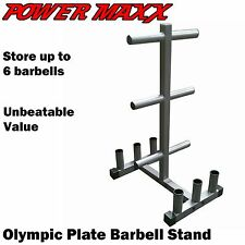 POWER MAXX Olympic Plate Barbell Stand Tree Rack Storage Holder