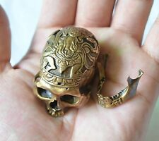 COOLTibetan Buddhism Miniature MINI Bronze Cast Kapala Carved Human Skull