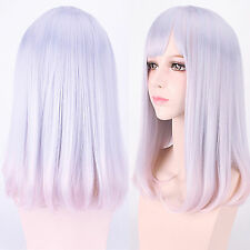 Harajuku Light Pink Purple Mixed Lolita Hair Medium Long Straight Cosplay Wig