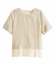 H&M PREMIUM QUALITY SILK TOP BLOUSE SIZE 10 NATURAL WHITE/DOTTED 100% SILK NWT