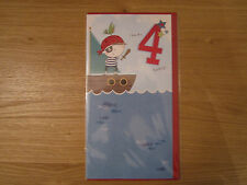 Sealed Happy 4th Birthday 4 Today Greeting Card Pirate Ship Design (119)