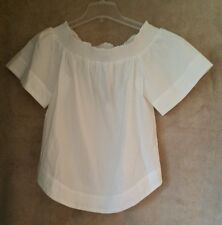 J. Crew Cotton off the shoulder top F2059 shirt blouse white Size 12