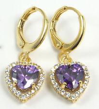 Women's 18 Carat Gold Plated Purple Heart Zircon Huggie Hoop Earrings Jewellery