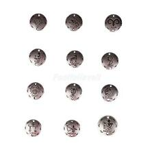 24x Vintage Silver Mixed 12 Horoscope Zodiac Round Pendant Charm DIY Jewelry