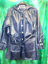 "shiny blue  pvc vinyl raincoat jacket with belt 52"" chest 32  long wet look"